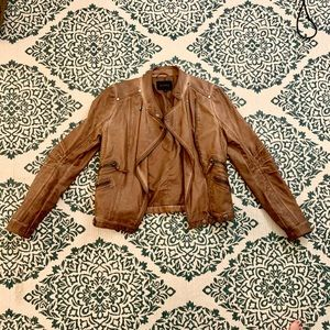 FAUX LEATHER JACKET Brown Size Small